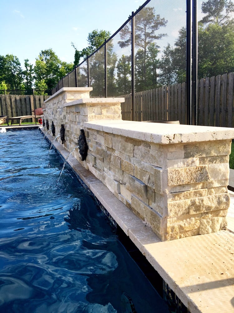 512 Square Foot Pool With Custom Beau Rivage Split Face Stone