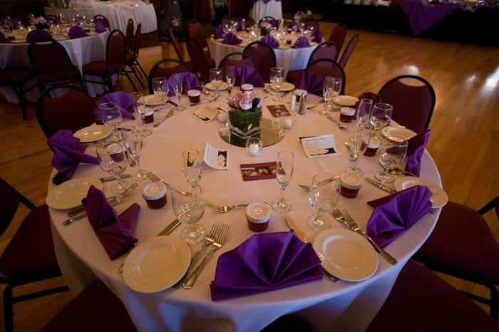 Photo of Historic Del Monte Building - Sunnyvale CA United States. Table set & Table set for buffet-style dinner reception. White table cloth and ...