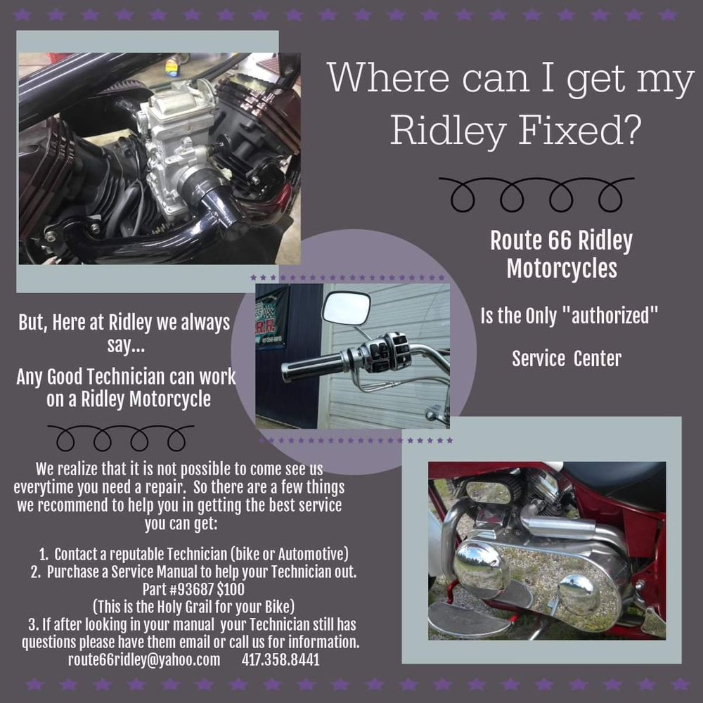 Route 66 Ridley Motorcycles: 2488 W Old 66 Blvd, Carthage, MO