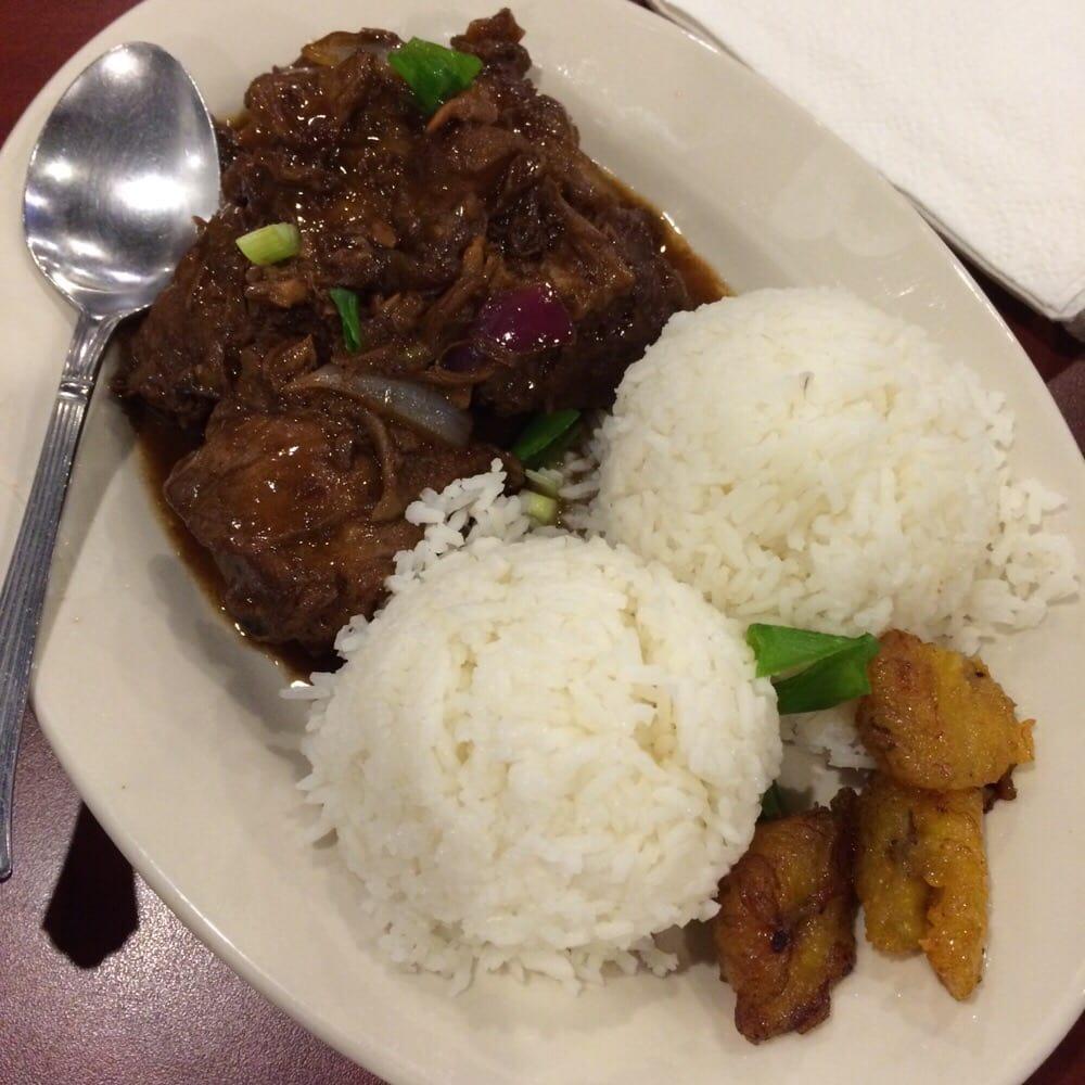 ... adobo - braised chicken cooked in garlic, asian vinegar & soy sauce