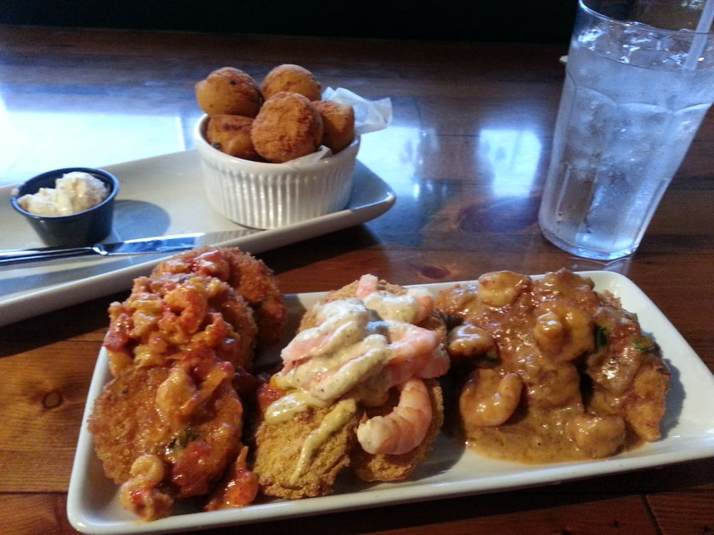 Cajun Comfort Trio. Fried eggplant w/crawfish, fried green ...