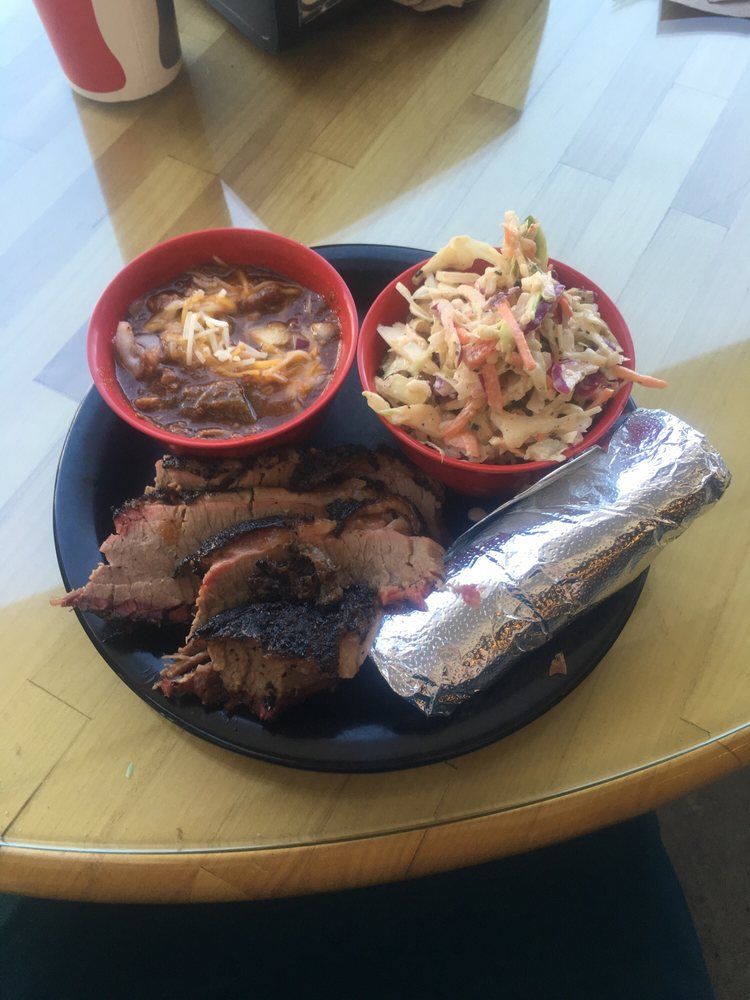 Butchers Kitchen Char B Que Reno : Beef brisket plate with house slaw and chili - Yelp