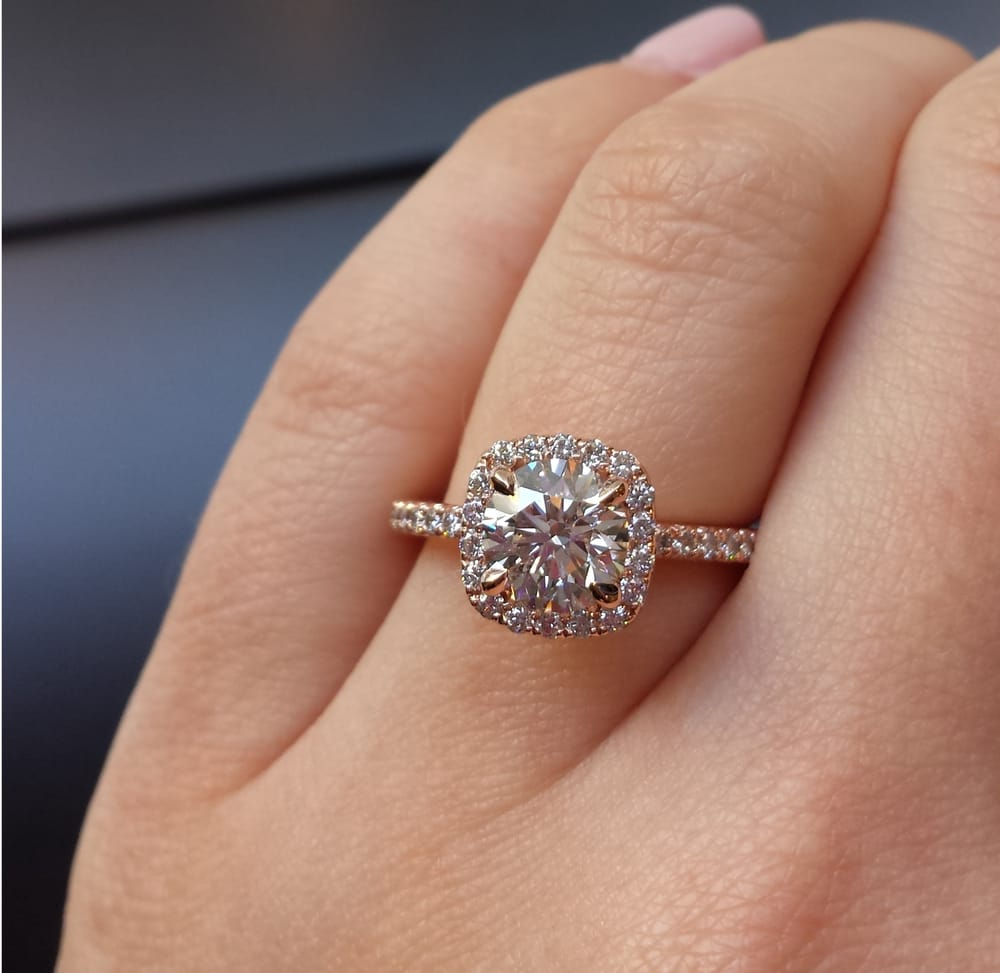 Rose gold halo engagement ring with claw prongs Yelp