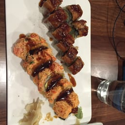 Momoyama Sushi House - Nanuet, NY, United States. Fire dragon & pink lobster roll