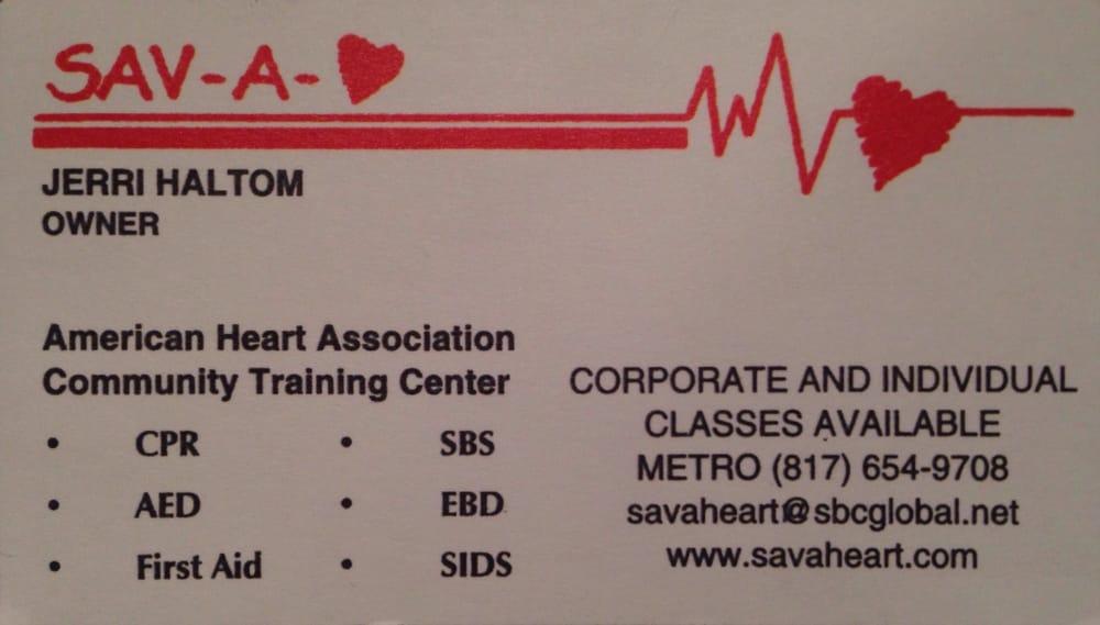 Sav A Heart First Aid Classes 5908 Highgate Dr Arlington Tx