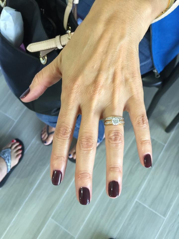This nice maroon color nail polish will make any hand stand out. - Yelp