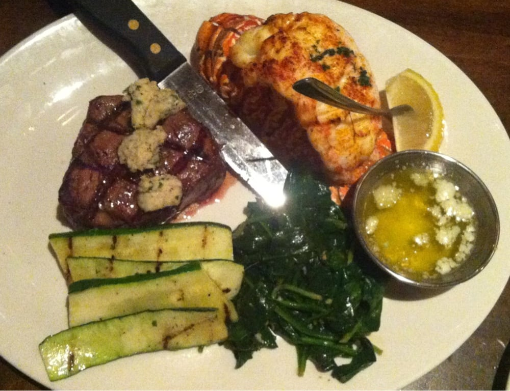 Surf turf filet mignon lobster tail all a bit over for King s fish house corona