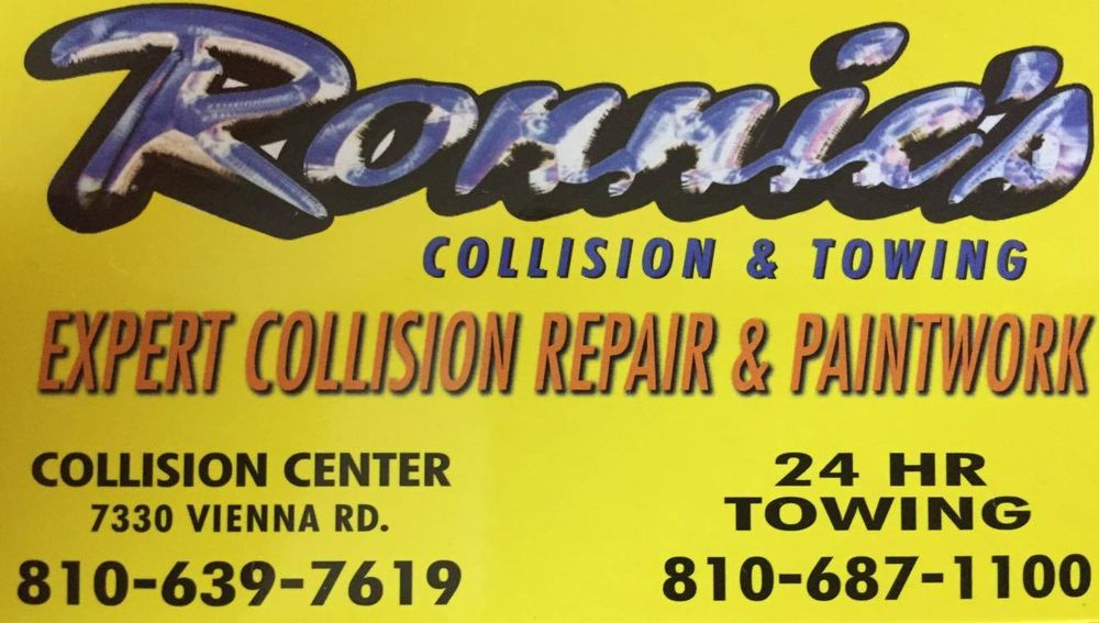 Ronnie's Collision & Towing: 7330 W Vienna Rd, Clio, MI