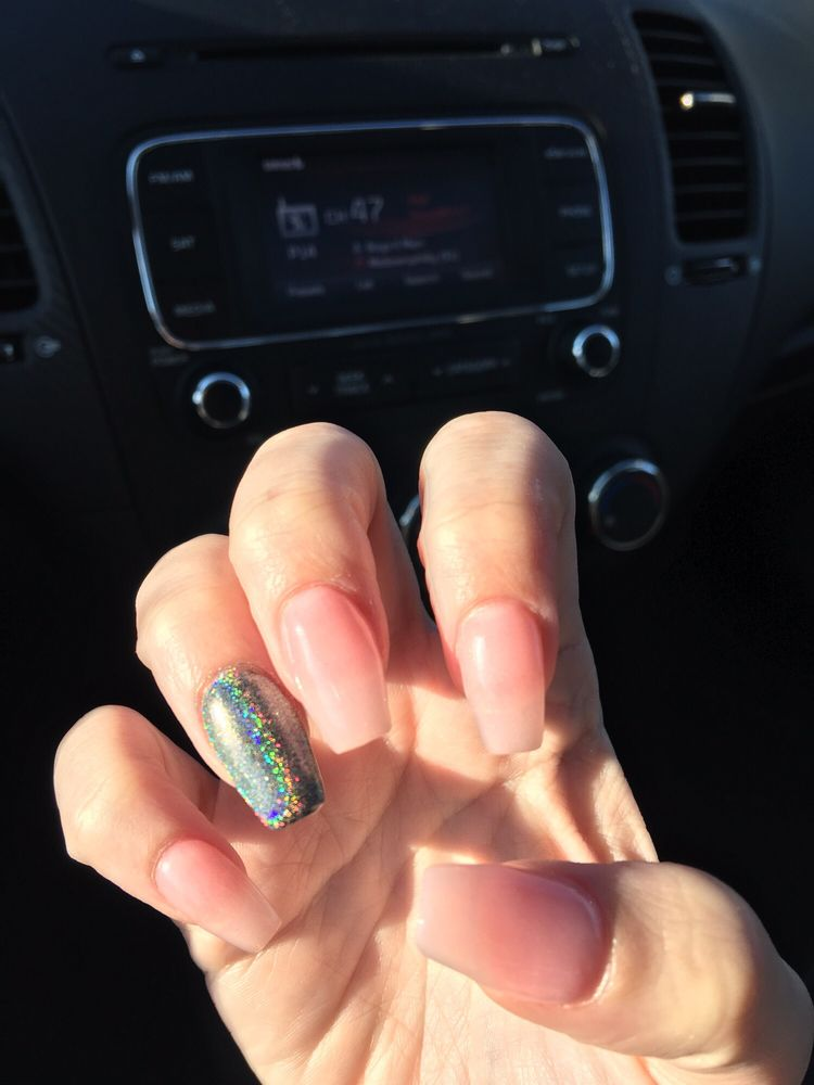 New set of coffin nails by Katie with the chrome powder on the ring ...