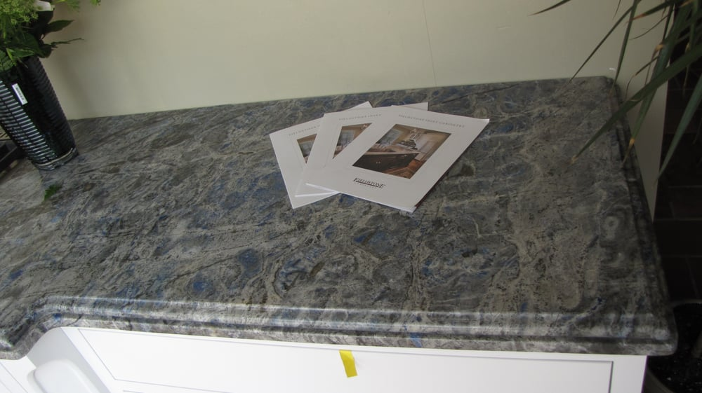 Lapis eyes granite countertops with cove ogee flat edge for Granite countertop support requirements