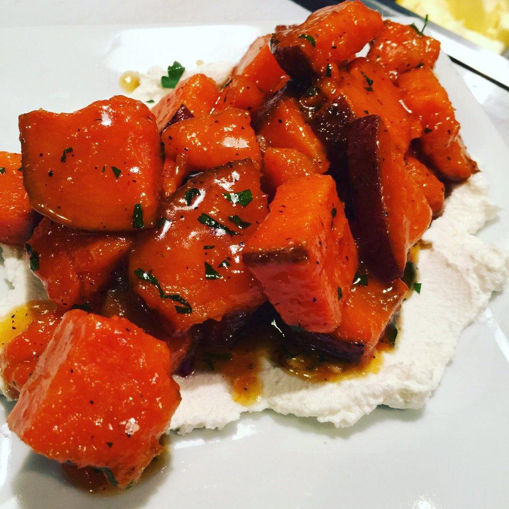 Honey Bourbon Glazed Sweet Potatoes Over Bed Of Ricotta
