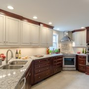 Natural Cherry Cabinetry With Photo Of Dream Kitchens Nashua Nh United States Two Toned Kitchen