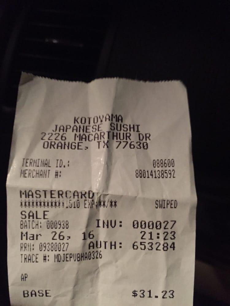 Kotoyama: 2226 MacArthur Dr, Orange, TX
