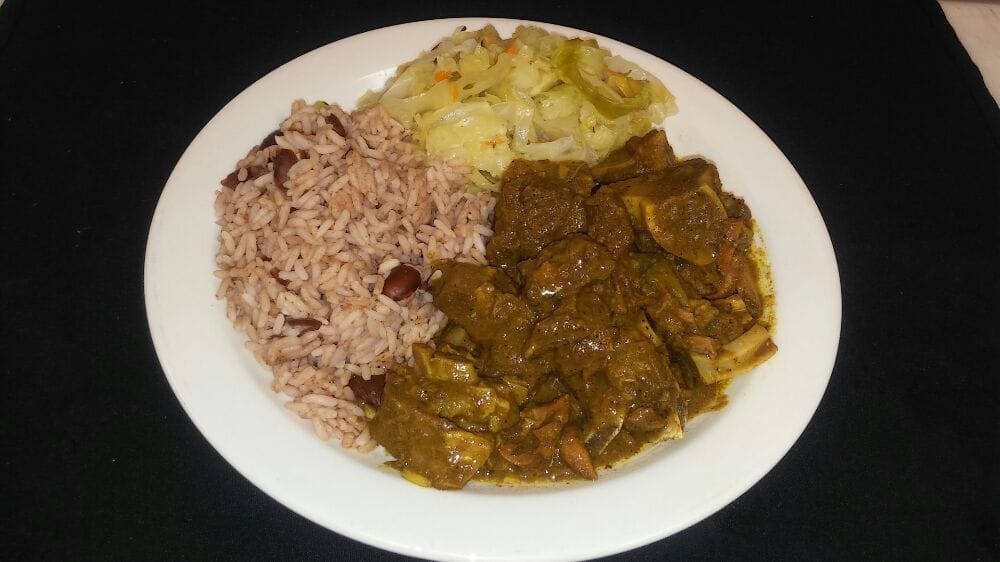 curry goat rice peas and cabbage  yelp