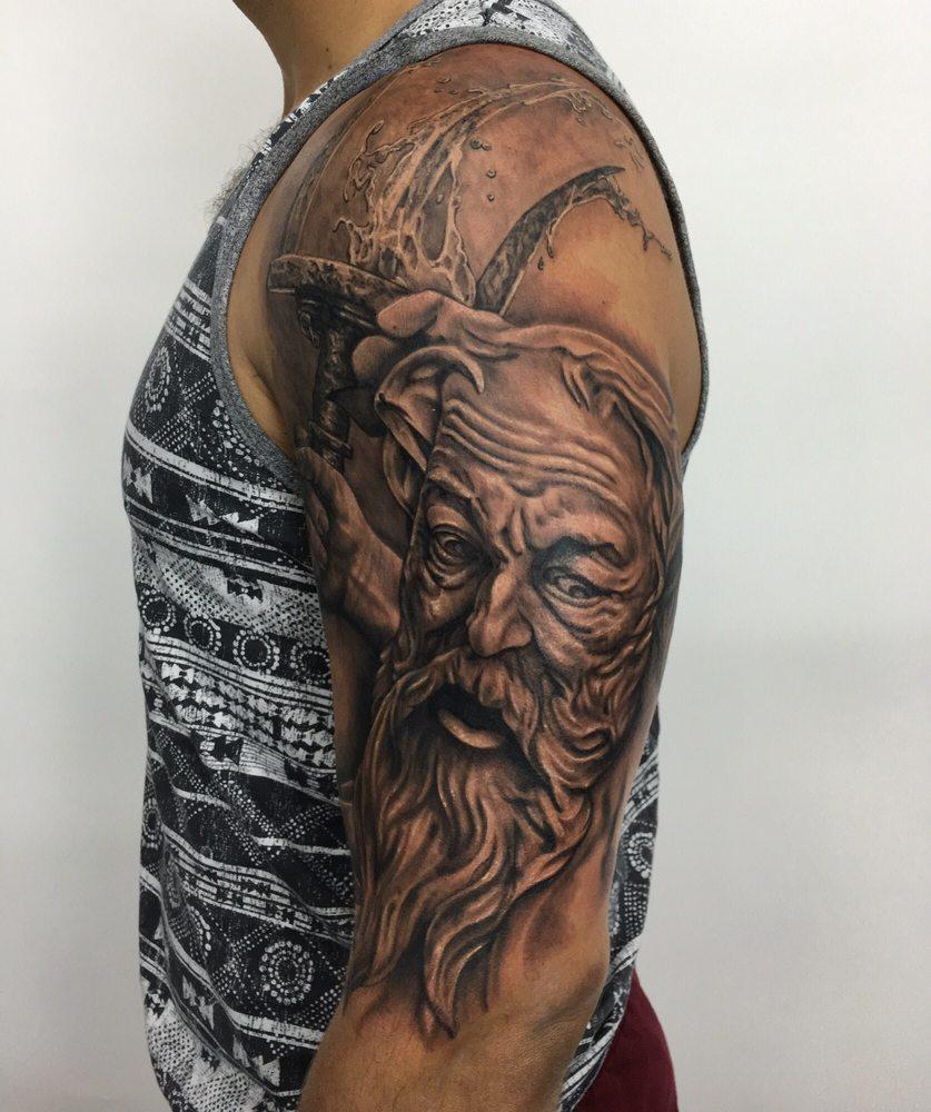 Poseidon Staff Tattoo: Beginning Of The Poseidon Sleeve. 9 Hours Work.