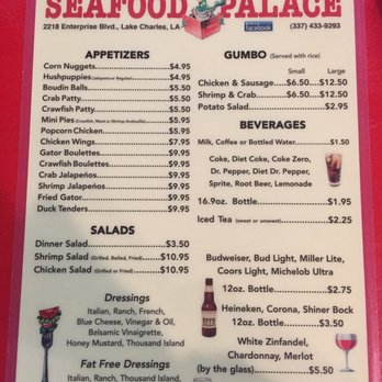 Photo Of Seafood Palace Lake Charles La United States Menu