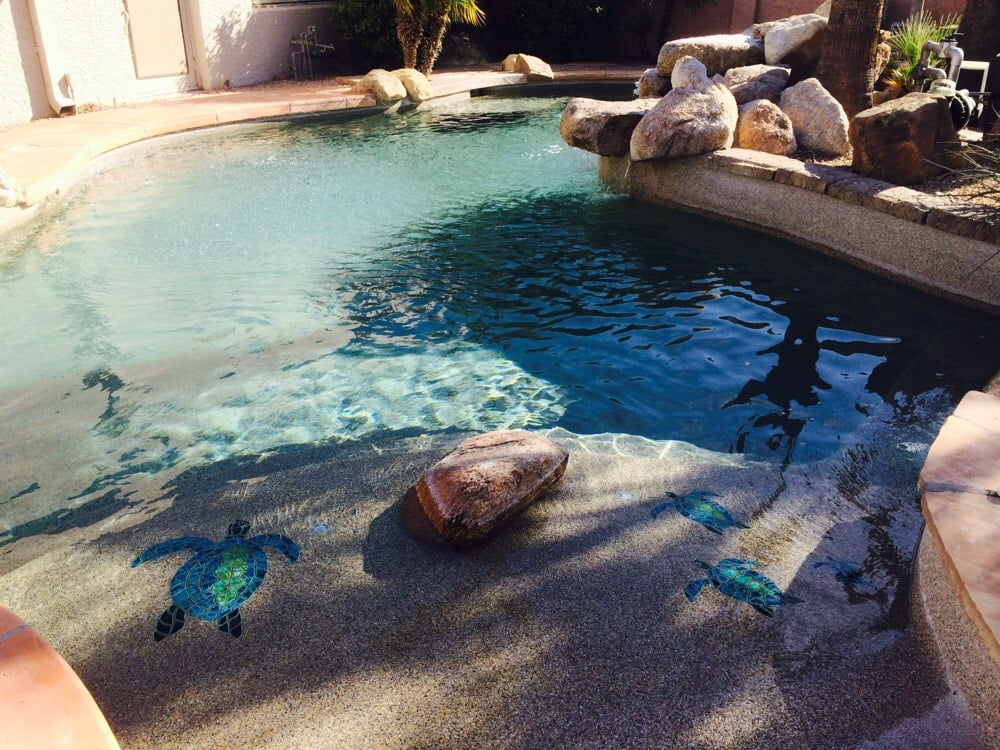 Their Beach Entry Pool With Turtle Mosaic In The Pebble