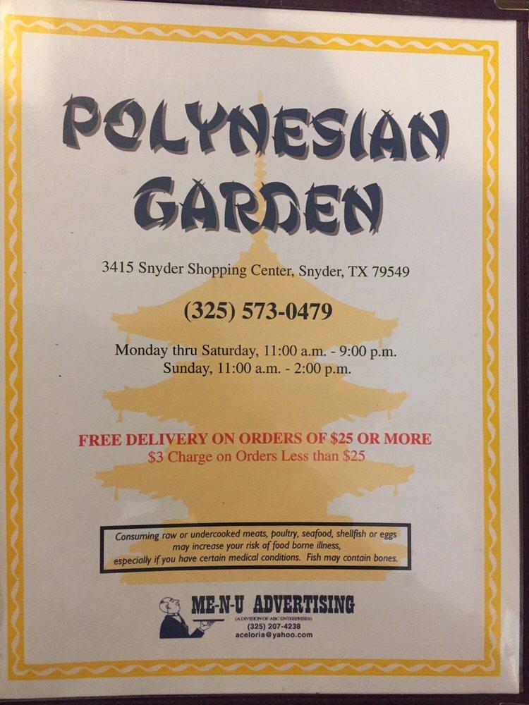 Polynesian Garden: 3415 Snyder Shopping Ctr, Snyder, TX