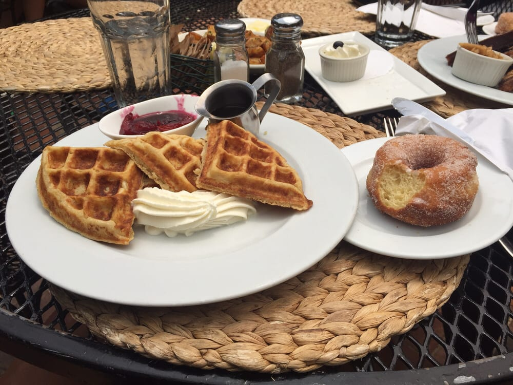 ... Hazelnut waffles with blueberry apricot compote! Soooo delicious $12