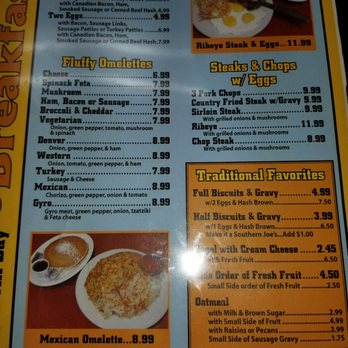 Joe S Cafe St Joseph Mi Menu