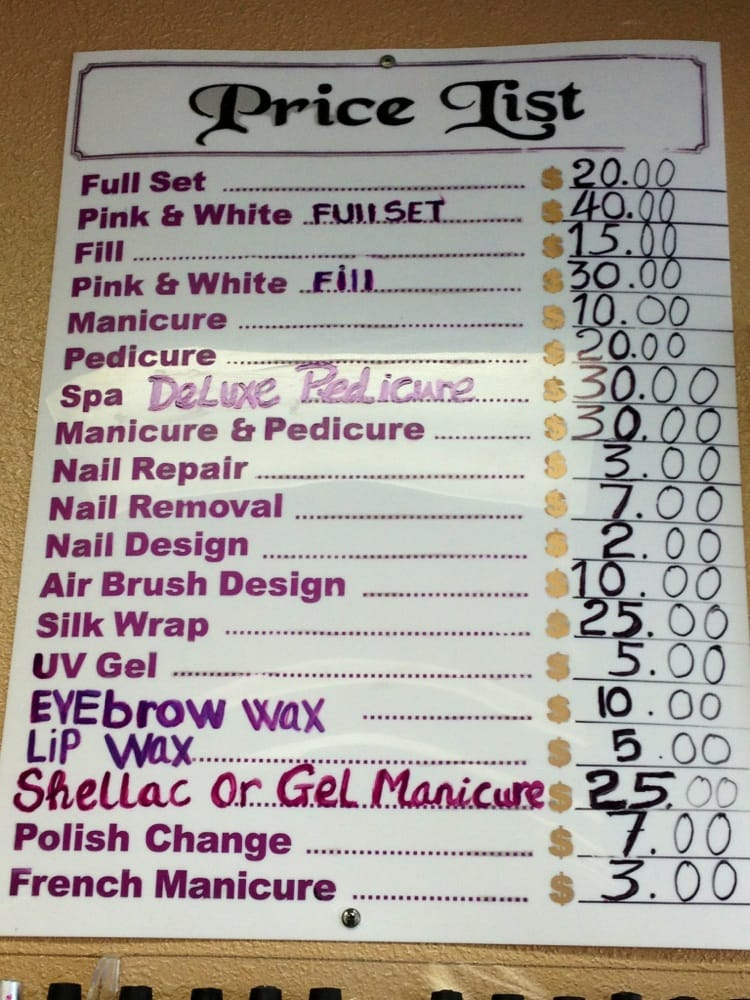 The prices at KB Nails! - Yelp