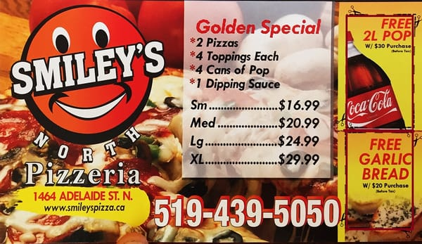 smiley s pizzeria pizzer a 1464 adelaide street n london on canad restaurante. Black Bedroom Furniture Sets. Home Design Ideas