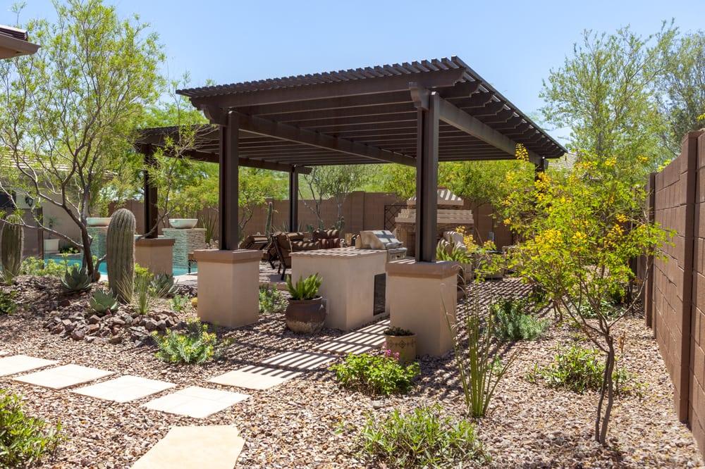 Beautiful freestanding alumawood lattice patio cover yelp for Freestanding patio cover
