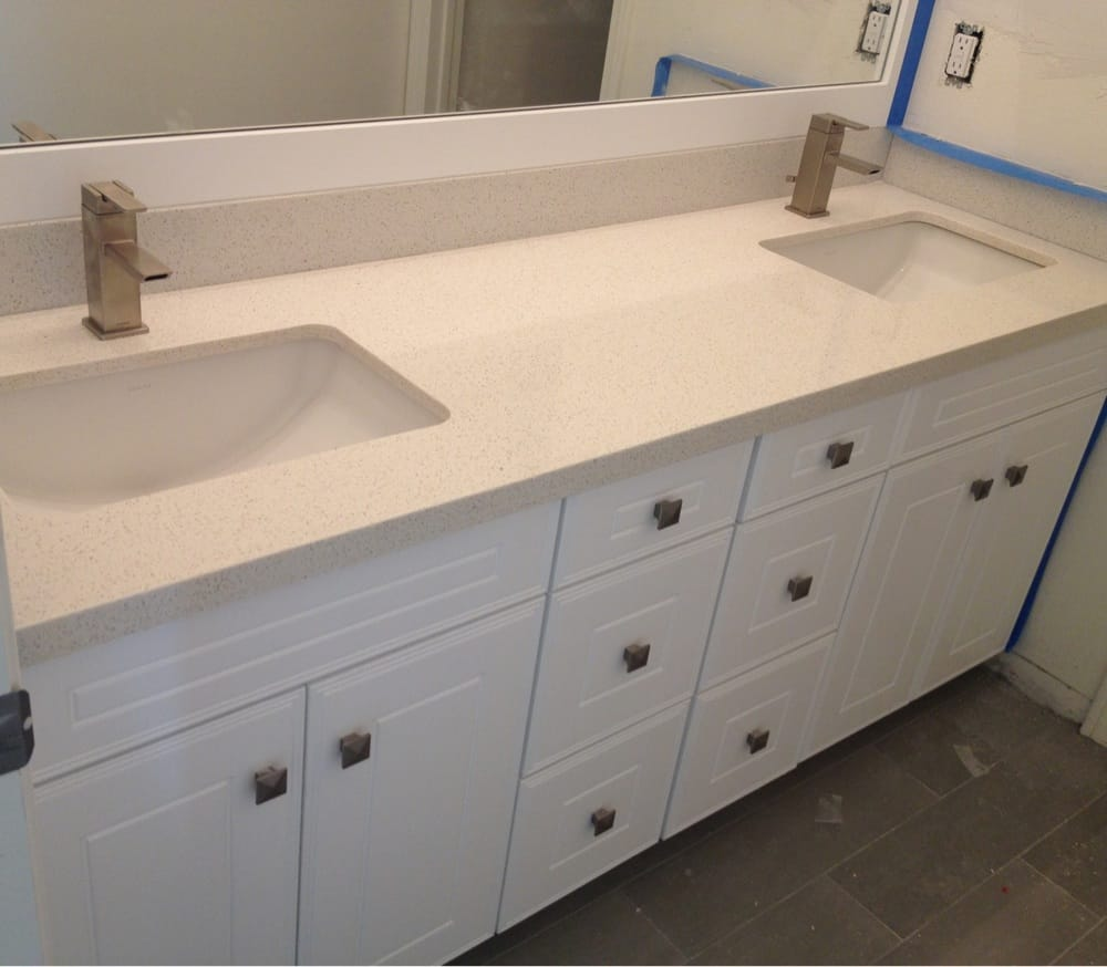 72 double sink vanity premium white cabinets with silestone blanc countertops and kohler for Double sink countertop bathroom