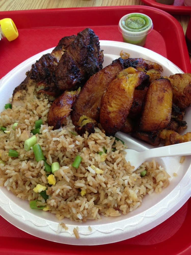 Huge plate of 1/4 chicken, fried rice, and plantains. - Yelp