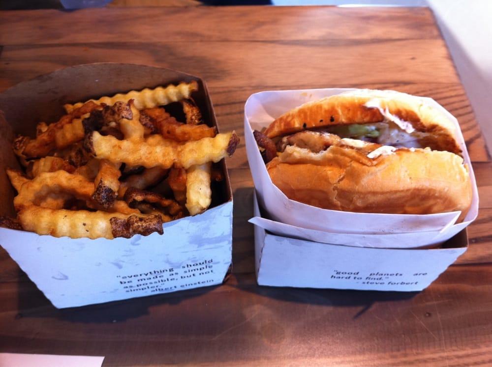 Chicken burger w/ crinkle fries - Yelp