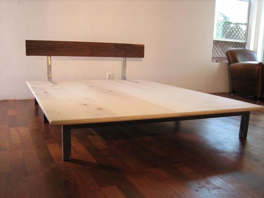 Basic Platform Bed Welded Steel Cross Beam Legs 1 1 4 Plywood Platform Solid Walnut Platform