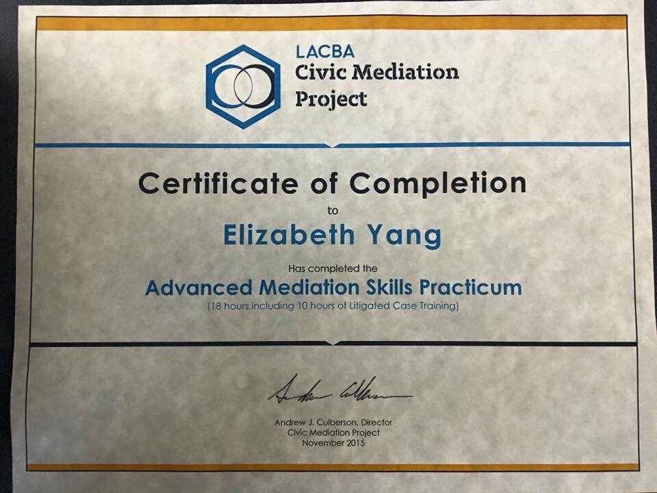 Founder Elizabeth Yang earned her mediation certification from LACBA ...