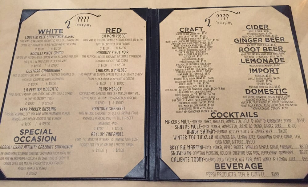 Four Seasons Air Conditioning >> Beer/Wine Menu - Yelp
