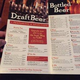 Photo Of Carolina Ale House   Raleigh, NC, United States. Beer Menu