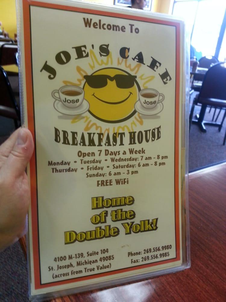 Joe Cafe Menu St Joseph Mi