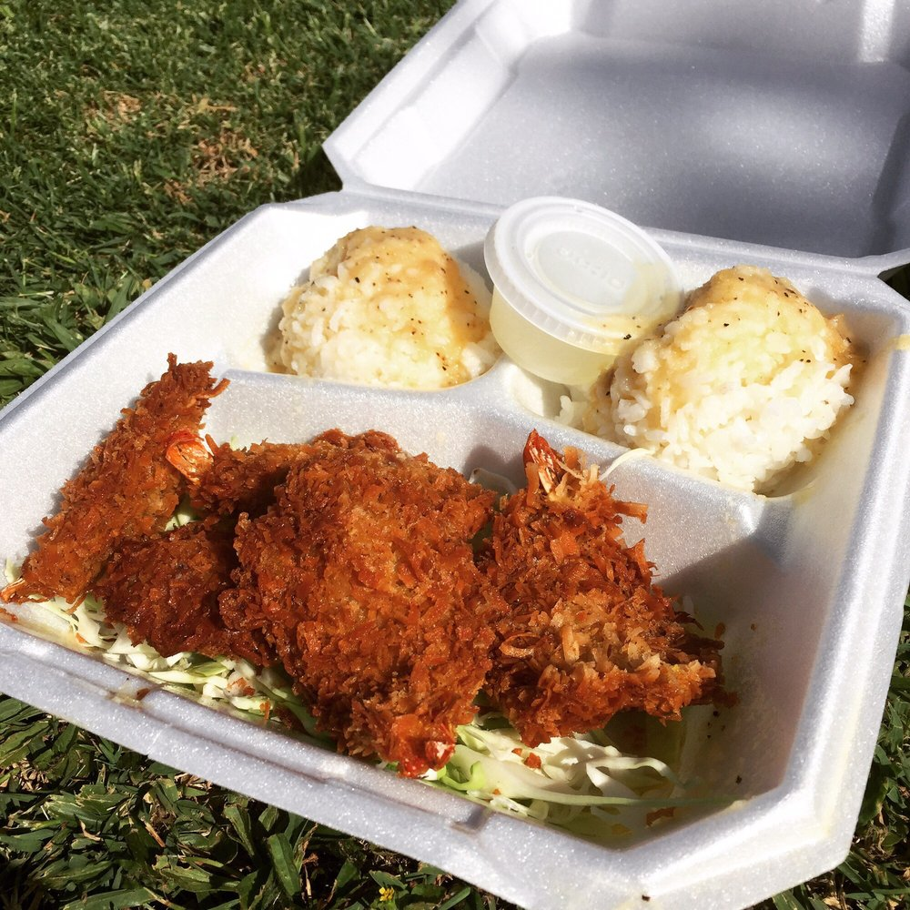 Food from Famous Kahuku Shrimp Truck