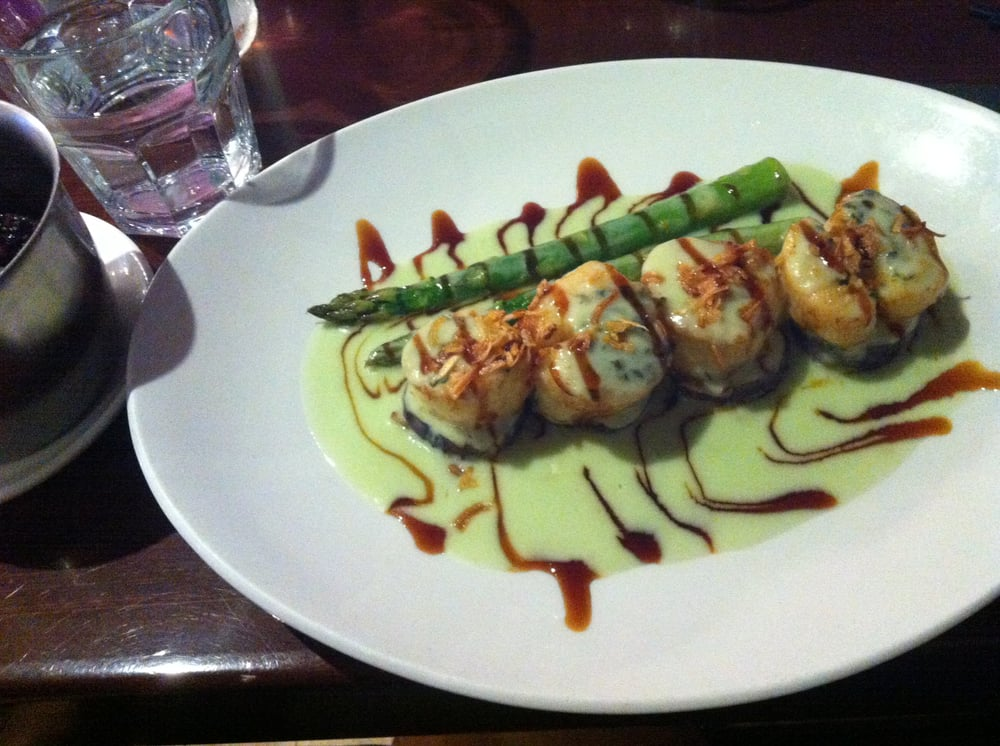 Seared scallops with wasabi coconut cream with eggplant for Asian cuisine san francisco
