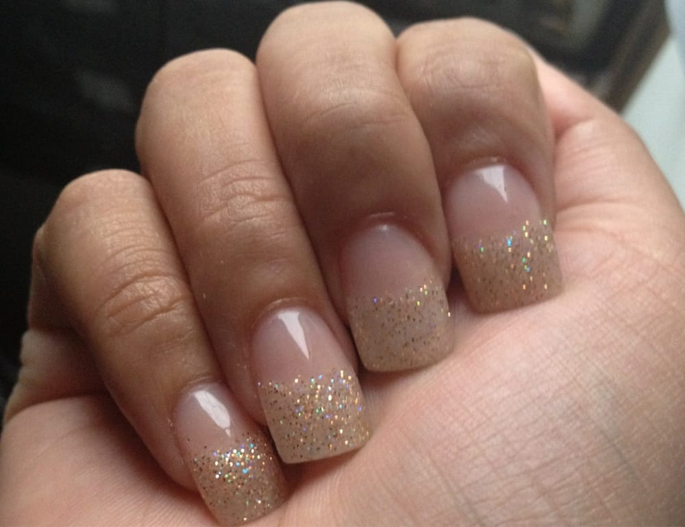 Acrylic glitter tips. Done by Tina. Love them! - Yelp