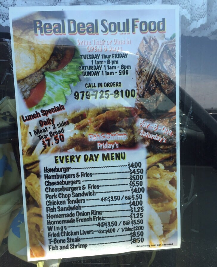 Real deal soul food soul food 302 south eagle st for Fish sandwich near me