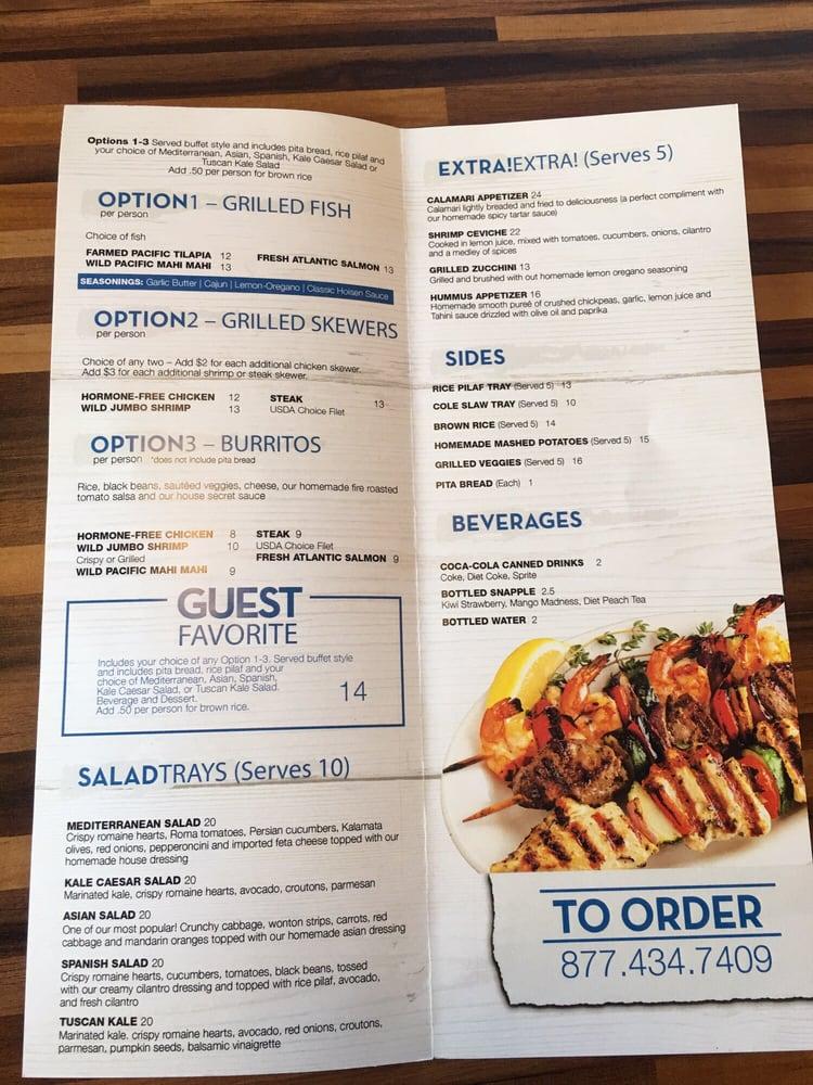 Catering menu yelp for California fish grill menu