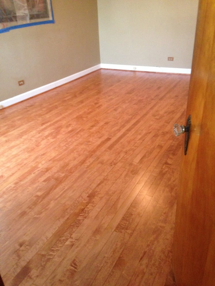 Site finished maple cherry stain bona traffic hd yelp for Flooring chicago