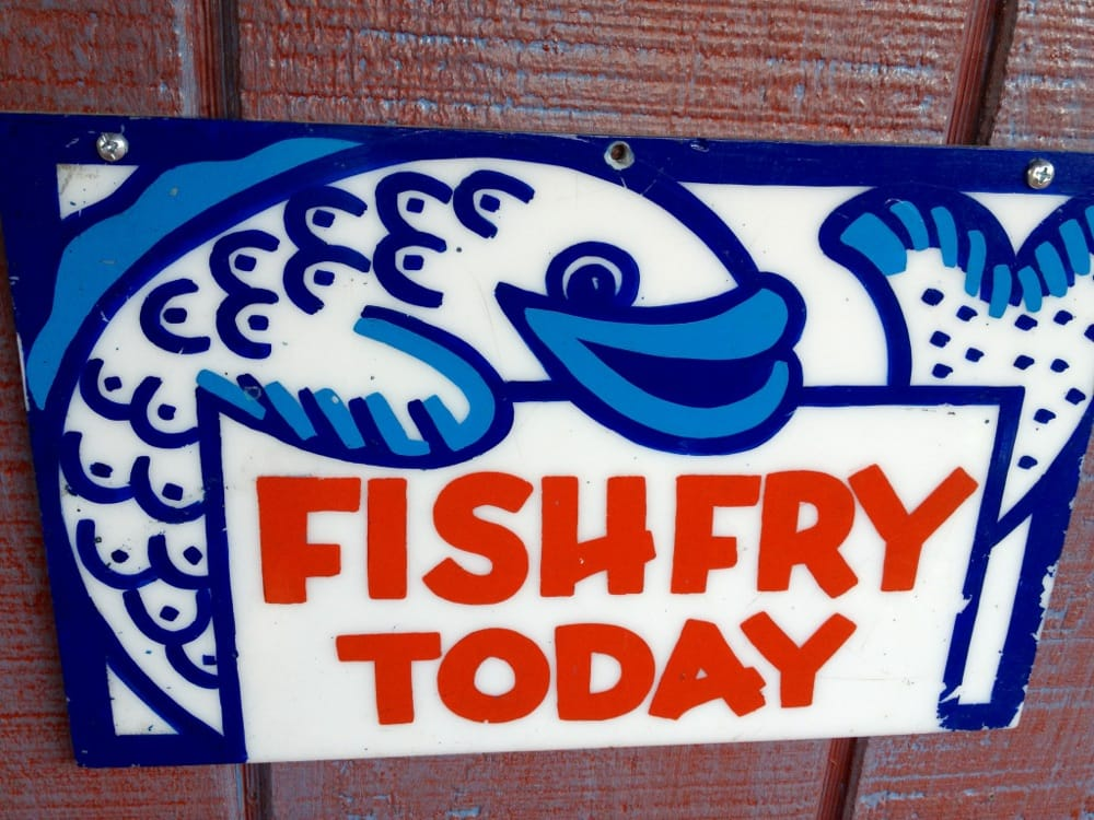 Fish fry sign on the seafood shack in the back yelp for How long to air fry fish