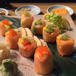 Mt. Fuji Restaurants - Hasbrouck Heights, NJ, United States. Rice paper with Kani salmon avocado and masago