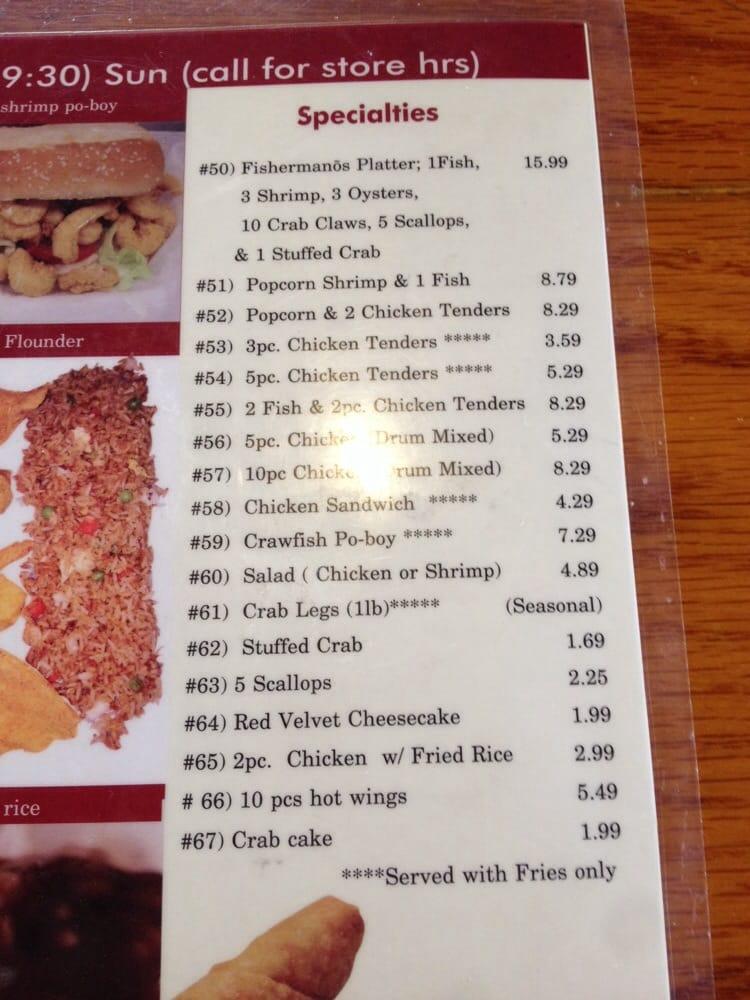 Menu yelp for Atlantic fish menu