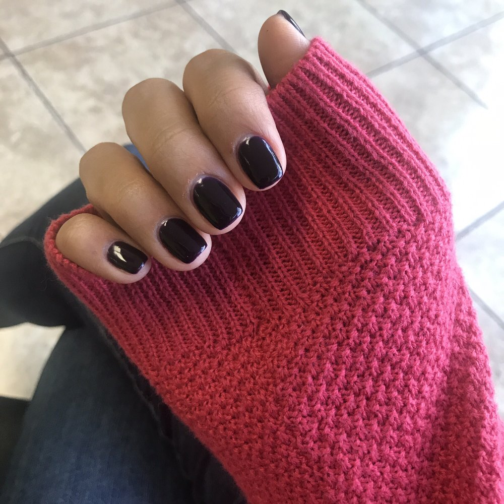 Back to short gel manicures- Nails by Nina (color looks black, but ...