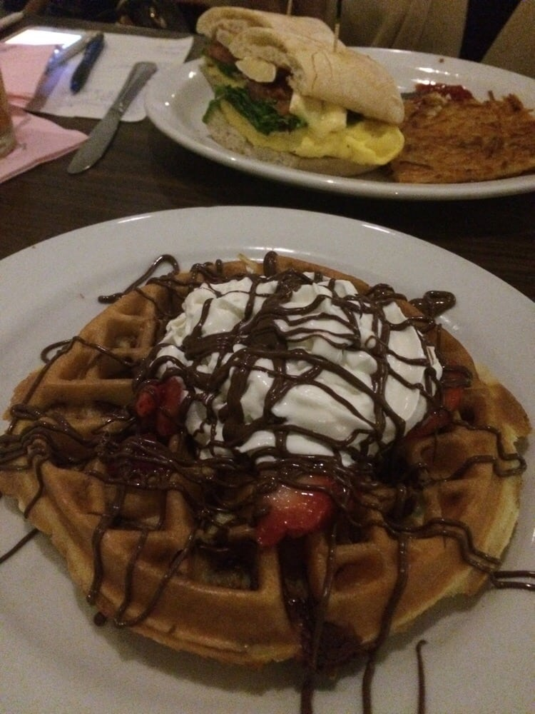Nutella tactic waffle and a egg sandwich in the back yelp for Kitchen 24 west hollywood