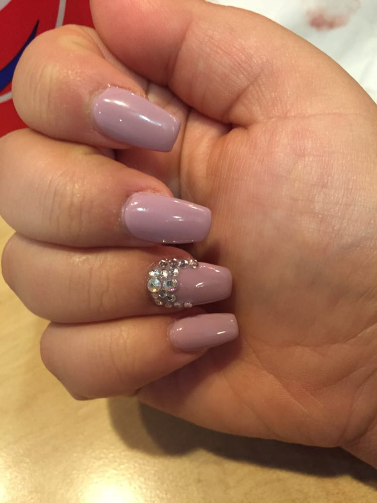 Full Set With Coffin Shape Gel Color And Crystal Design Yelp