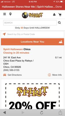Spirit Halloween Superstore 896 E Ave Chico, CA Costumes - MapQuest
