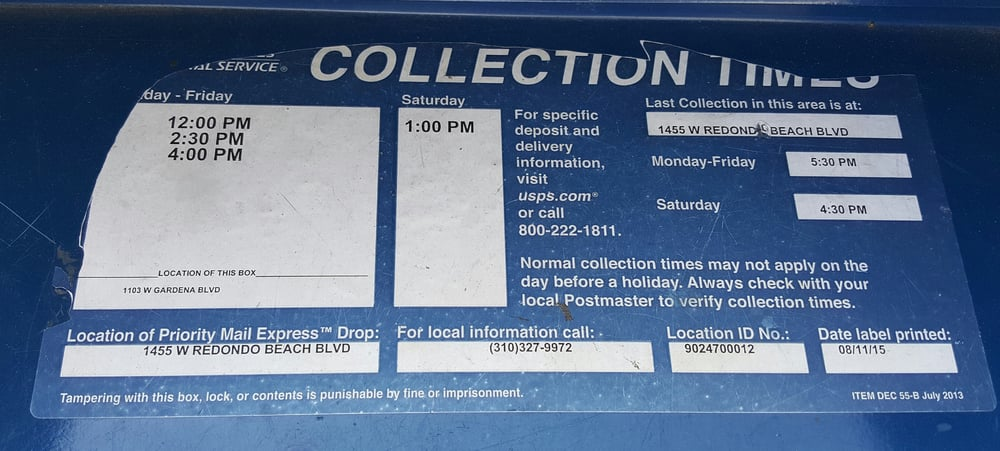 Outdoor mailbox collection times - Yelp
