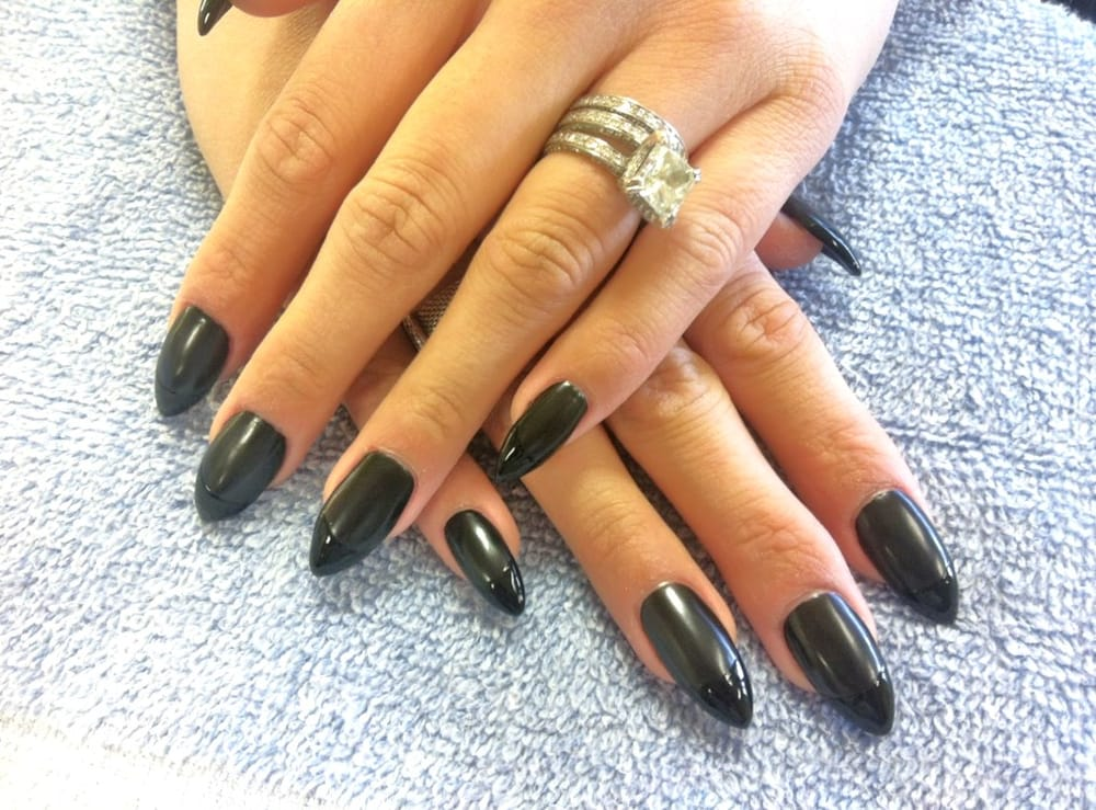 Heart shaped acrylic set w/ black and matte black French design by ...